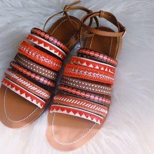 Boho Tory Burch Mixed Trims Flat Sandals